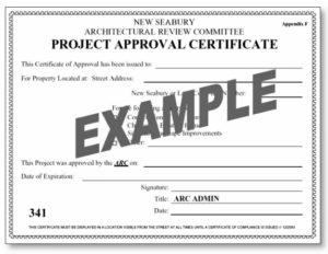 New Seabury permit certificate